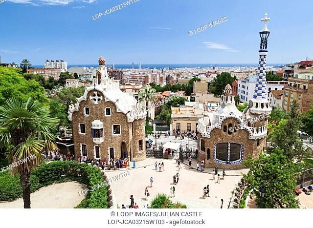 Elevated view over Park Guell and the Barcelona city skyline