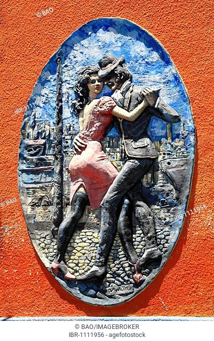 Historic advertising sign of a tango bar in Calle Necochea in El Caminito, La Boca, Buenos Aires, Argentina