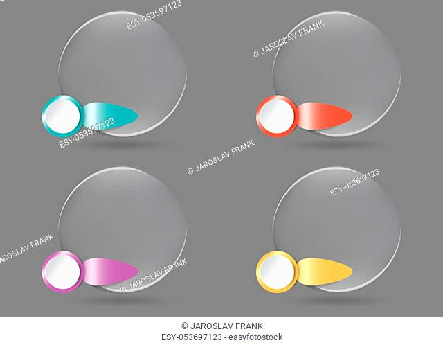 Four transparent balls with color metal labels enable numbering ready for your use as presentation, template, report etc