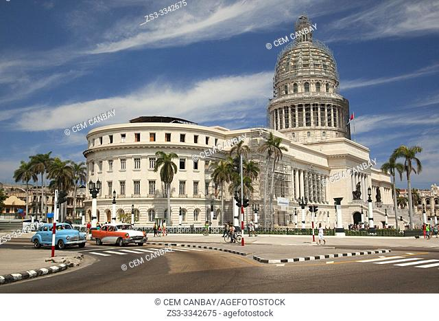 Old American cars used as taxis in front of the Capitolio building in Central Havana, La Habana, Cuba, West Indies, Central America