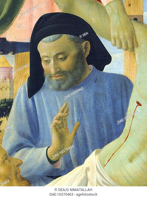 Architect Michelozzo, detail from The Deposition from the Cross or the Altarpiece of the Holy Trinity, ca 1432, by Giovanni da Fiesole known as Fra Angelico...