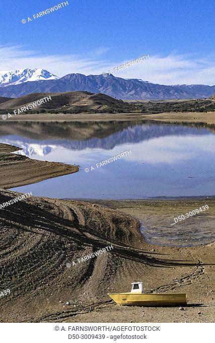 MARRAKECH, MOROCCO. Tensift river basin. Lalla Takerkoust. Atlas Mountains