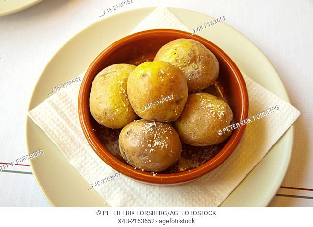 Papas arragudas the boiled potatoes of Canary Islands, Arrecife, Lanzarote, Canary Islands, Spain, Europe