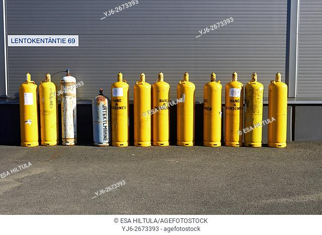 yellow gas cylinders
