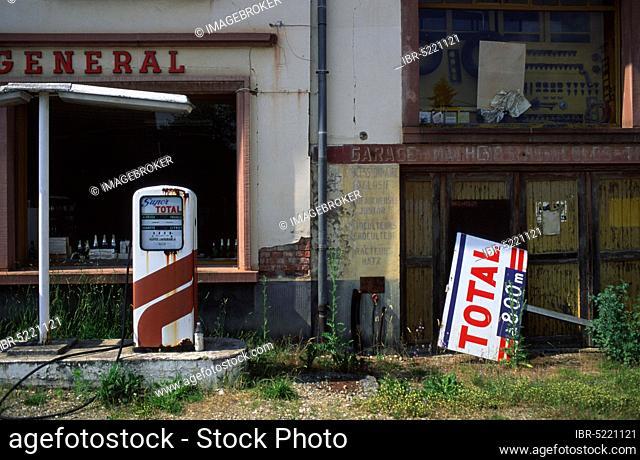 Old filling station, Obersteinbach, Vosges Mountains, France, Old filling station, Obersteinbach, Northern Vosges, France, Europe