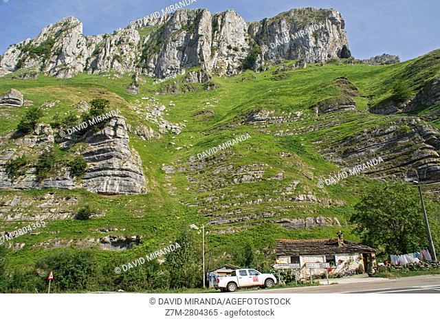 Mountain landscape near San Roque de Riomiera, Cantabria, Spain