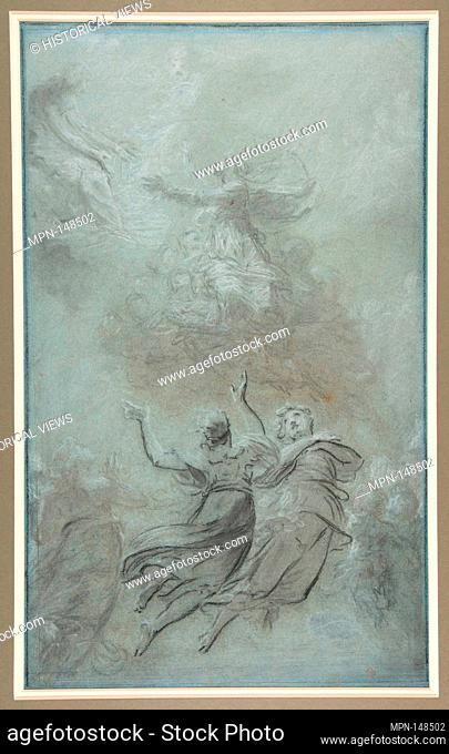 The Assumption of the Virgin. Artist: Pierre Paul Prud'hon (French, Cluny 1758-1823 Paris); Date: ca. 1816-19; Medium: Black and white chalk on blue paper;...