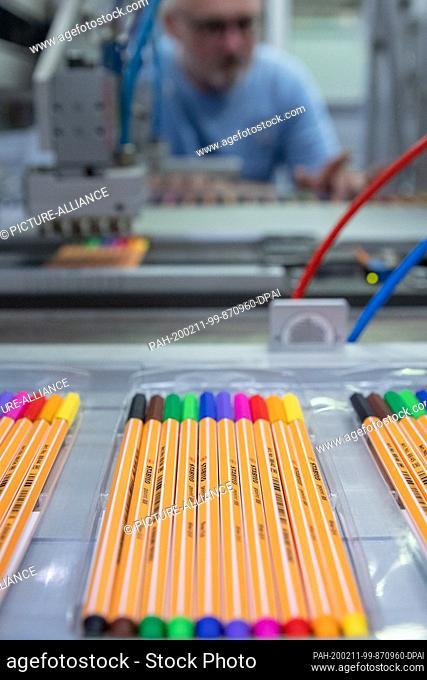 "05 December 2019, Bavaria, Weißenburg: Pencils """"Fineliner"""" of the brand Schwan Stabilo (Schwanhäußer GmbH & Co. KG), lie in the production of the company in a..."