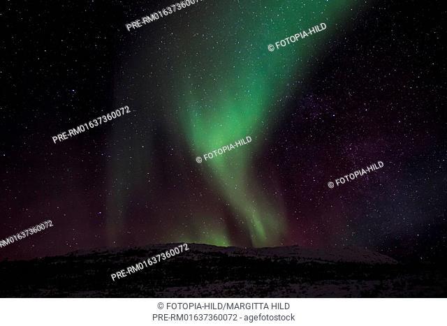 Northern light, Polar night, Kattfjordeidet, Kvaløya island, Tromsø, Troms Fylke, Norway / Nordlicht, Polarnacht, Kattfjordeidet, Kvalöya, Tromsö, Troms Fylke