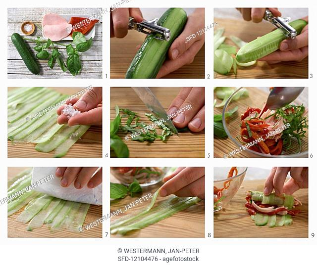 How to prepare stuffed cucumber rolls with peppers and turkey breast