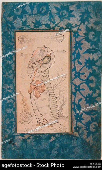 Woman Carrying a Vase. Object Name: Illustrated single work; Date: 17th century; Geography: Attributed to Iran; Medium: Ink, watercolor