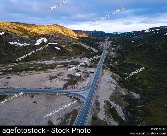 Russia, Murmansk Oblast, Teriberka, Aerial view of intersection of straight alpine road
