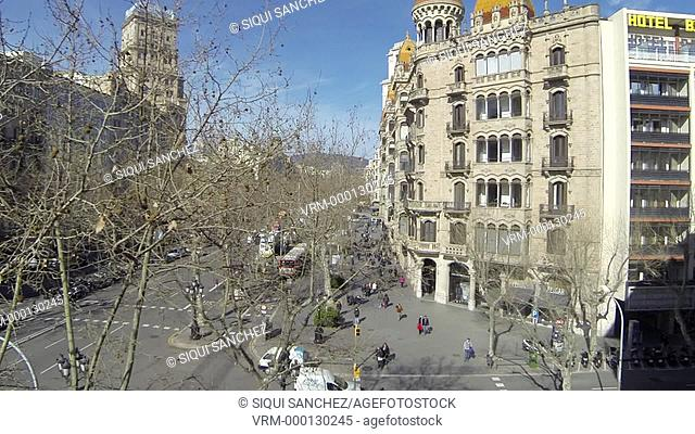 Aerial view of Casas Pasqual i Pons and Passeig de Gracia in Barcelona, Spain