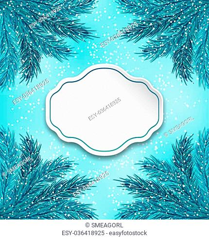 Illustration Greeting Card with Frame Made in Fir Twigs for Winter Holidays - Vector