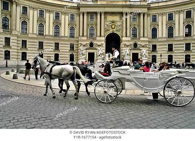 Austria, Vienna, A Fiacre in front of the Hofburg Palace