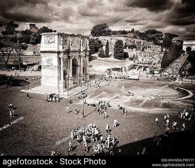 Tourists at Arch of Constantine, Rome, Italy