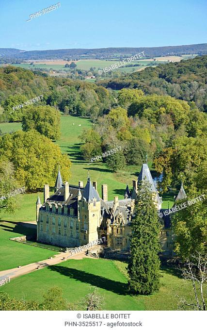 France, Burgundy, Nievre, La Fermete, Castle of Prye, aerial view