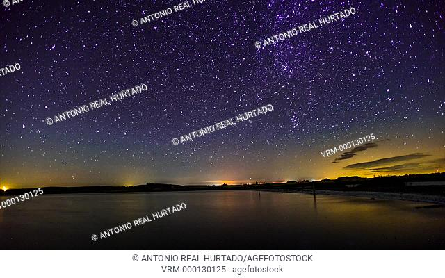 Perseids. Pétrola lagoon. Albacete province. Spain