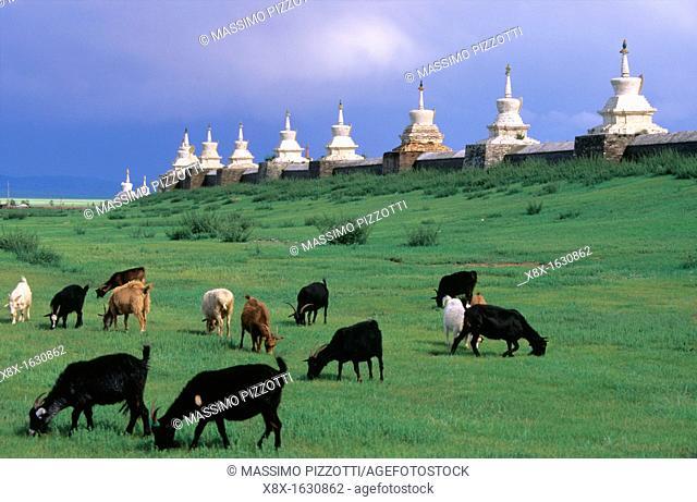 The walls of Erdene Zuu monastery with its 108 stupas, Karakorum, Mongolia