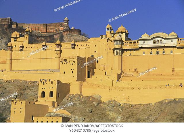 Amer Fort and Jaigarh Fort behind, Rajasthan, India