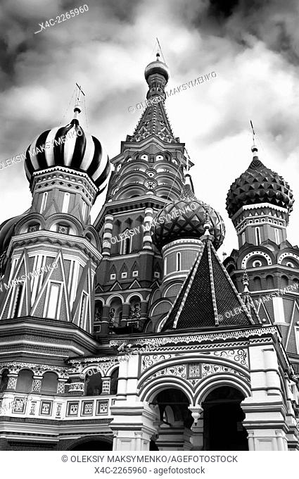 Saint Basil's cathedral colorful domes at The Red square in Moscow, Russia. The Cathedral of the Protection of Most Holy Theotokos on the Moat