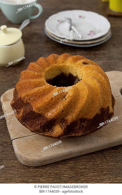 Gugelhupf cake or bundt cake at a tea party