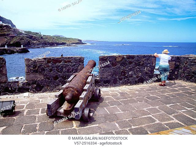 Tourist at the viewpoint. Garachico, Tenerife island, Canary Islands, Spain