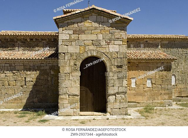 Visigothic church of San Pedro de la Nave made of red sandstone, Seventh Century, Historic and Artisitc National Monument, El Campillo, province of Zamora