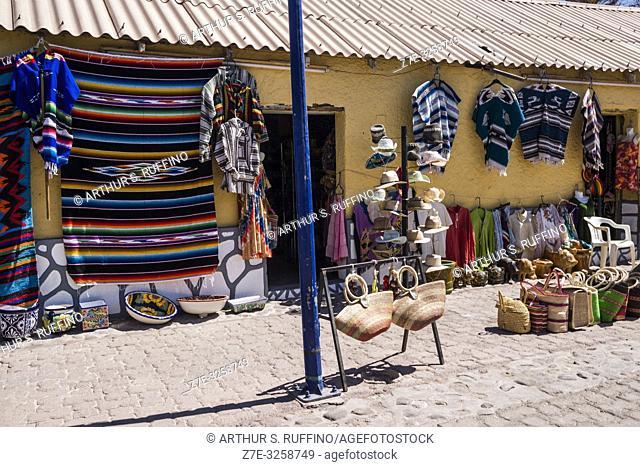 Shopping for local crafts in downtown Loreto. UNESCO World Heritage Site. Loreto, Baja California Sur, Mexico