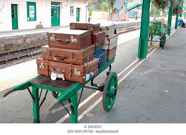 Luggage on platform at Okehampton Railway Station