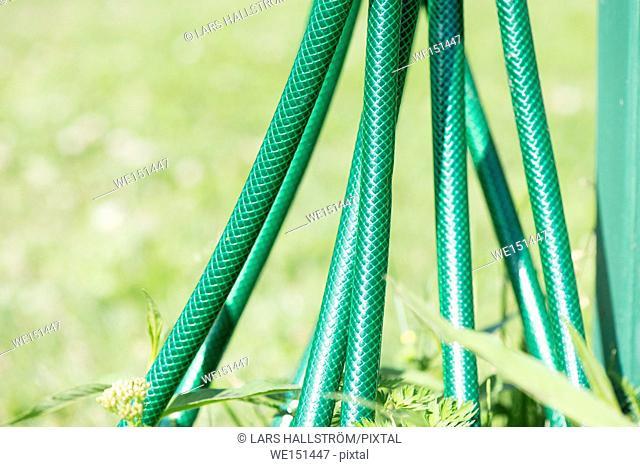 Green garden hose. Detail of gardening equipment