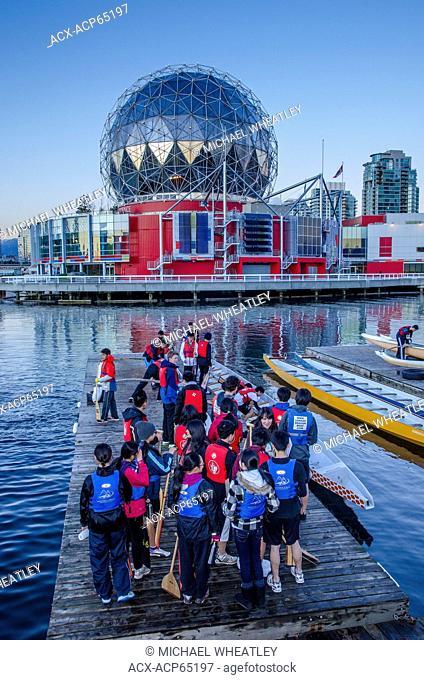 Dragonboat crews assembled at False Creek, Vancouver, British Columbia, Canada
