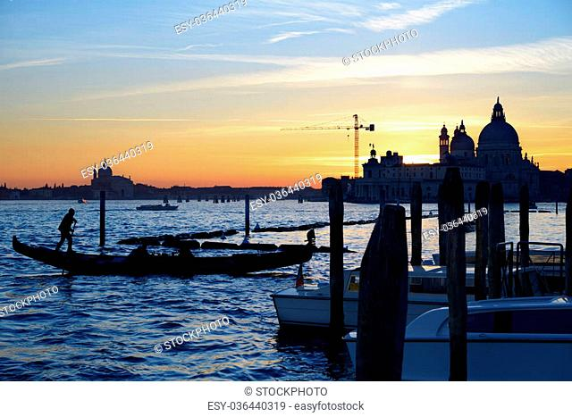 Sunset on San Marco canal in Venice, Italy