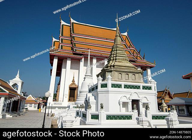 the Wat Kanlayanamit Temple at the Chao Phraya River in Thonburi in the city of Bangkok in Thailand in Southest Asia. Thailand, Bangkok, November, 2019