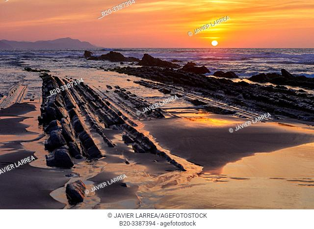 Flysch, Itzurun Beach, Zumaia, Gipuzkoa, Basque Country, Spain, Europe