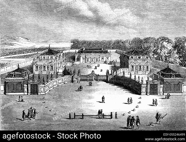 China Trianon, Versailles, originally designed in 1670, destroyed in 1687, vintage engraved illustration. Magasin Pittoresque 1857