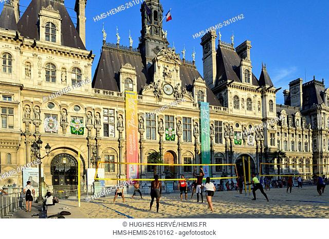 France, Paris, area listed as World Heritage by UNESCO, City Hall Place, Paris Beaches, Volleyball Players