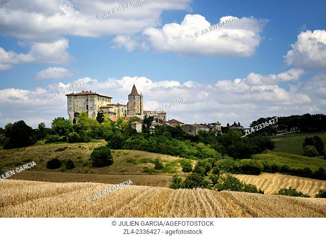 Village dominated by its castle. France, Gers, Lavardens labeled Les Plus Beaux Villages de France (The Most Beautiful Villages of France) located at the north...