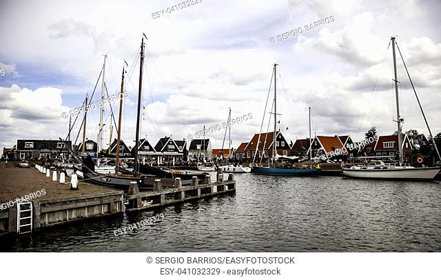 Port in Holland, detail of fishing port in the Netherlands