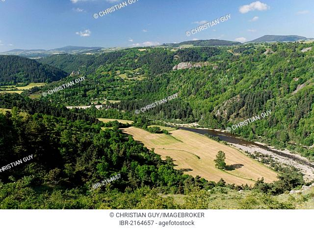 The Loire Gorges near Goudet, Haute Loire, Auvergne, France, Europe