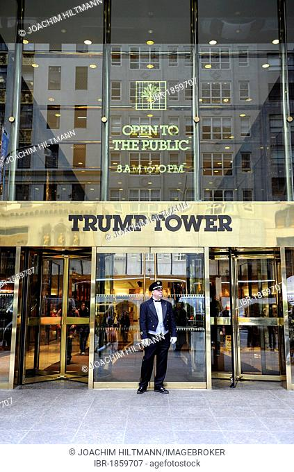 Doorman standing in front of the Trump Tower, Manhattan, New York City, New York, United States of America, USA, North America