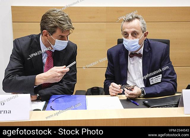 Ignacio de la Serna and Christian De Valkeneer pictured during a session of the justice commission of the federal parliament in Brussels