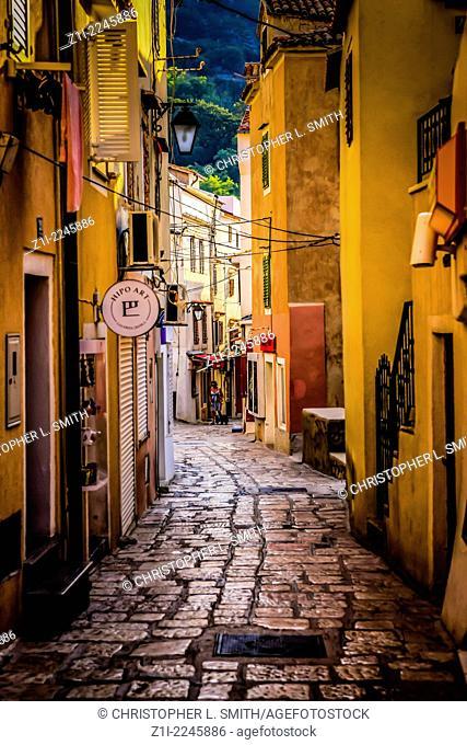 The narrow paved village streets of Baska on the island of Krk Croatia