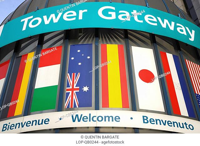 England, London, The City, Signage for Tower Gateway which is one of the stations for the Docklands Light Railway