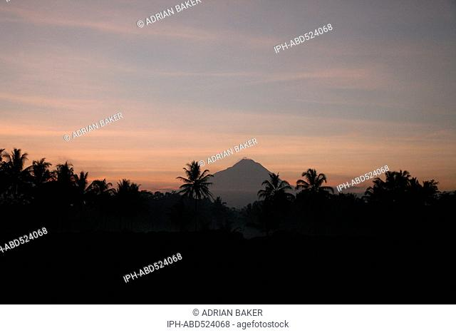 Indonesia Central Java Magelang Mount Merapi at sunrise