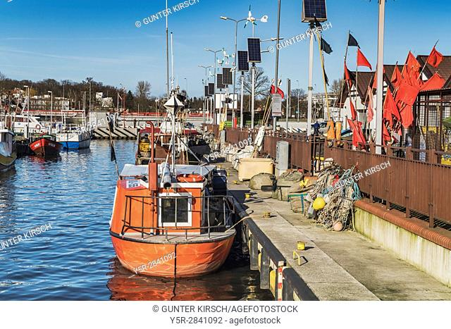 The fishing harbor of Kolobrzeg is located at the mouth of the Parseta (Persante) river, near the Baltic Sea, Kolobrzeg, West Pomeranian, Poland, Europe