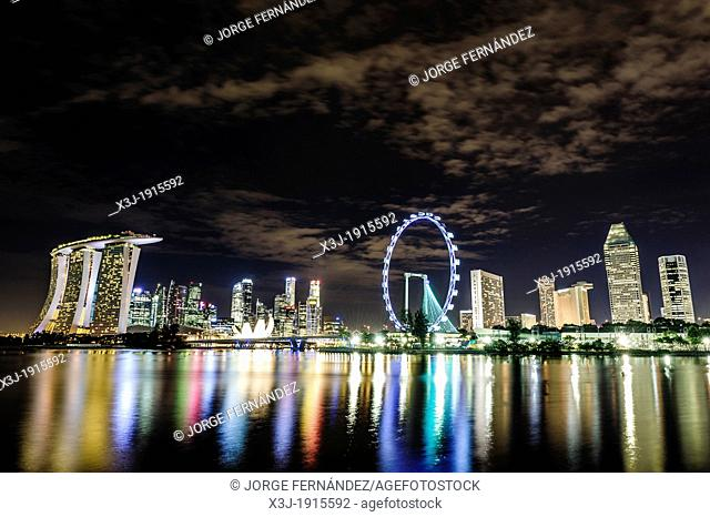 View of the Singapur Marina at night, Asia