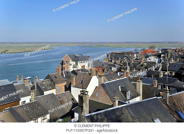 View over the town Saint-Valery-sur-Somme, Bay of the Somme, Picardy, France