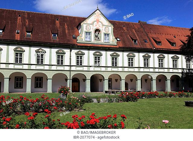 Courtyard of Kloster Benediktbeuren monastery, former Benedictine abbey, Bad Toelz-Wolfratshausen district, Bavaria, Germany, Europe