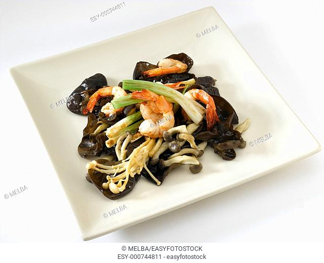 Prawns with mushrooms